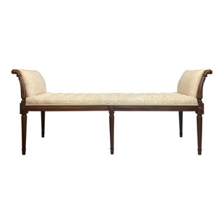 Neoclassical Carved Wood Upholstered Tufted Bench With Curved Arms Preview