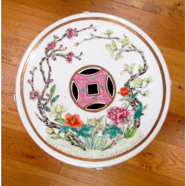 Chinese Porcelain Floral Garden Stool For Sale - Image 5 of 6