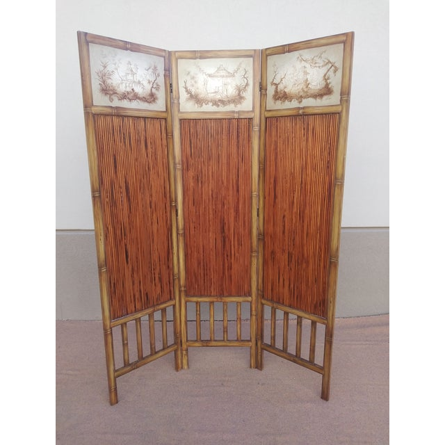 Chinoiserie Picturesque Tropical Double Sided Hand Painted Room Divider For Sale - Image 9 of 13