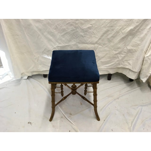 Antique Faux Bamboo Stool For Sale - Image 4 of 11