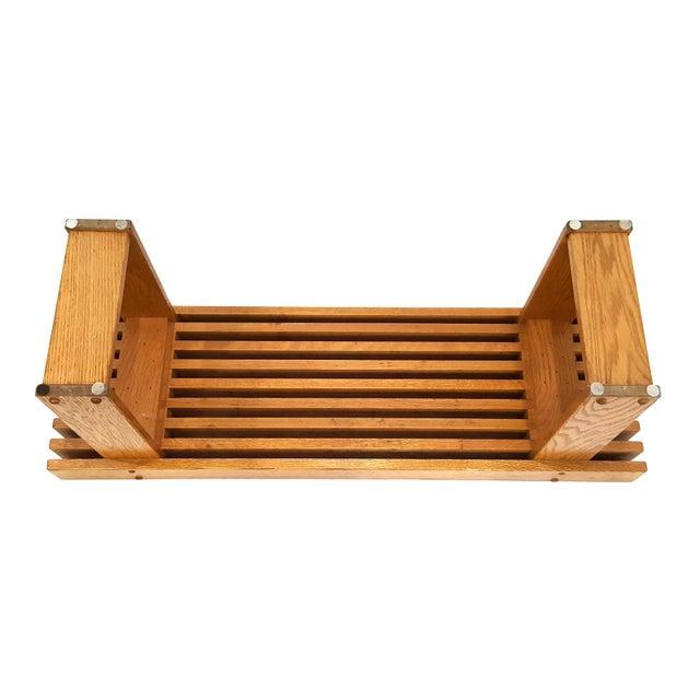 1960s Mid-Century Modern Oak Slat Bench For Sale - Image 10 of 11