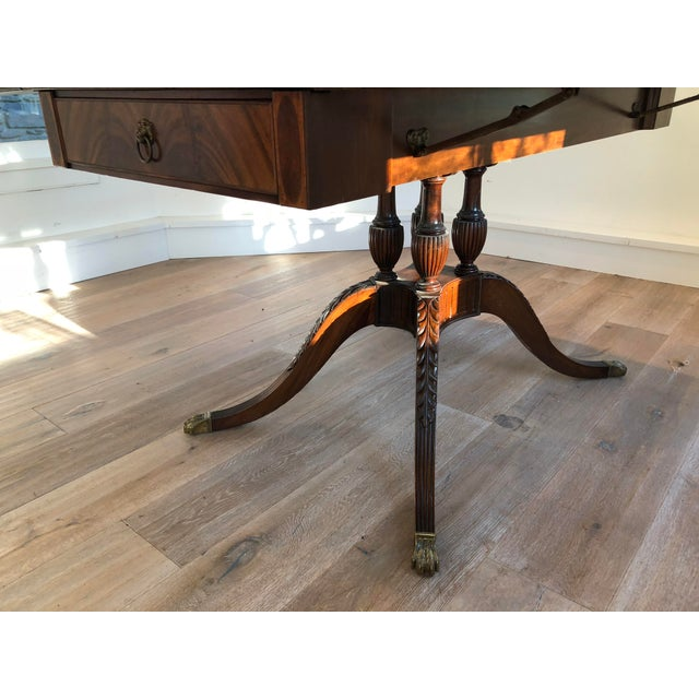 Early 20th Century 20th Century American Classical Drop-Leaf Library Table For Sale - Image 5 of 10