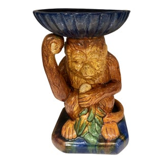 Vintage Majolica Minton Style Monkey Holding a Dish For Sale