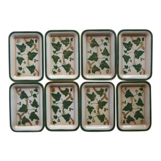 1950s Small Vintage Trays Ivy and Gold - Set of 8 For Sale