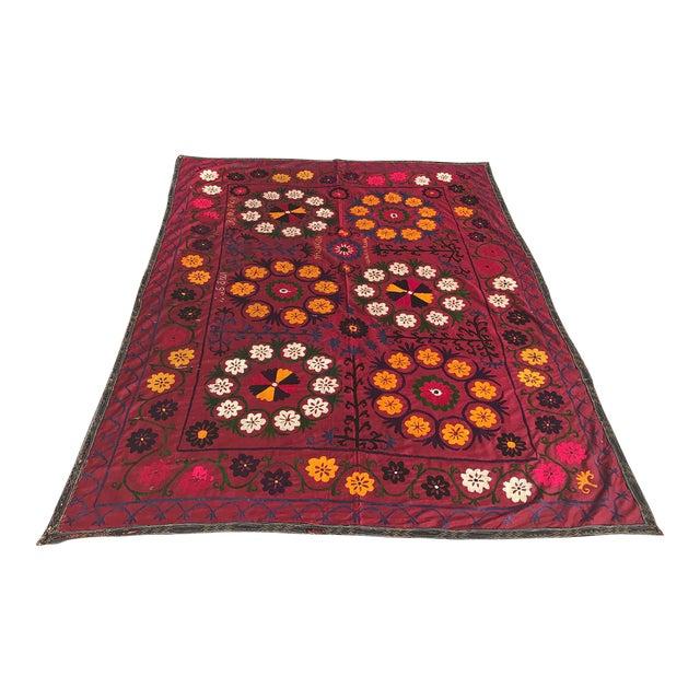 Dark Red Suzani Blanket - Image 1 of 6