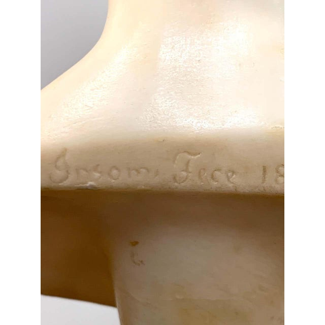 Wood Italian Neoclassical Alabaster Portrait Bust of a Gentleman, by Insom Fece, 1839 For Sale - Image 7 of 12