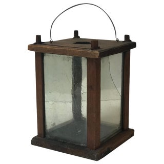 Late 19th Century Swedish Square Wooden Lantern For Sale