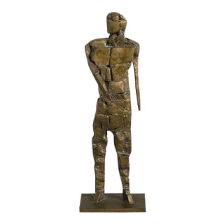 Brutalist Figurative Bronze Table Sculpture Signed JR For Sale