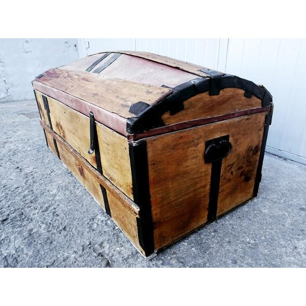 Solid French Storage Trunk With Leather Inserts For Sale - Image 5 of 9