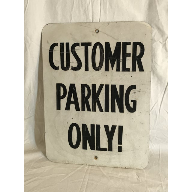 """Vintage """"Customer Parking Only!"""" metal sign. Great smaller wall hanger Man Cave size 16"""" x 12"""". Good vintage condition..."""
