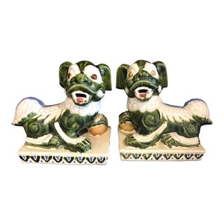 1980s Asian Antique Chartreuse Antique Foo Dogs - a Pair For Sale