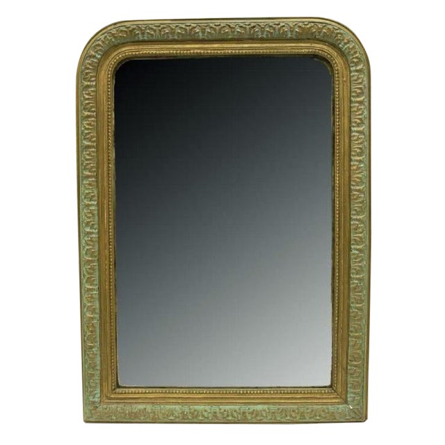 1880 Antique French Charles X Style Green and Gold Painted Wall Mirror For Sale