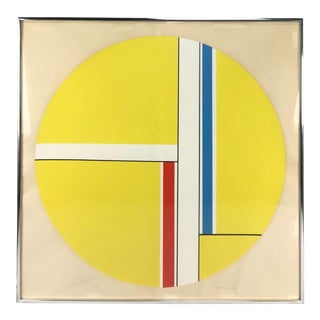 Ilya Bolotowsky Yellow Tondo Geometric Abstract #30/90 Serigraph Print For Sale
