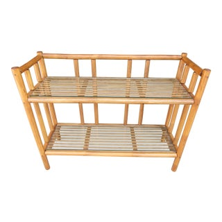 Rattan Etagere / Bookshelf / Plant Stand With Glass Covers For Sale