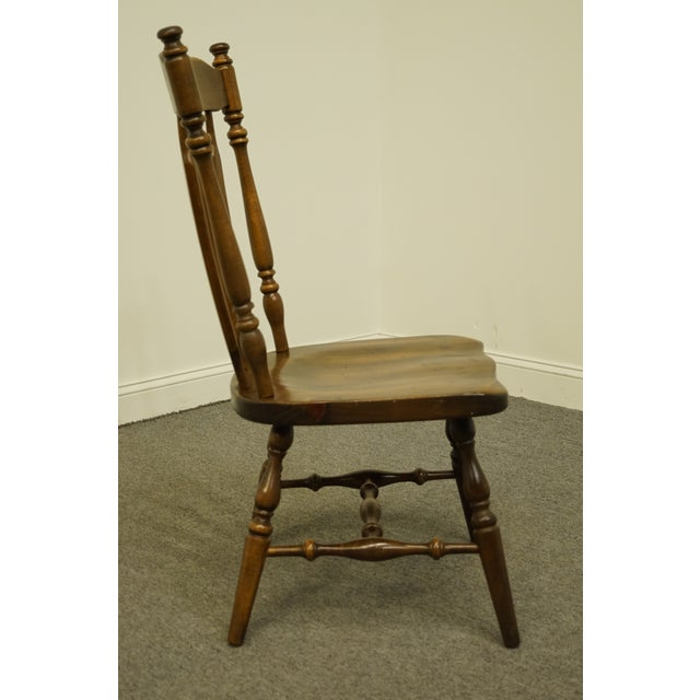Brown Late 20th Century Ethan Allen Antiqued Pine Old Tavern Cattail Back Dining Side Chair For Sale - Image 8 of 10