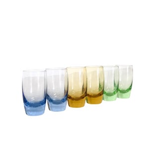 Set of 6 Mid Century Modern Colored Shot Glasses For Sale