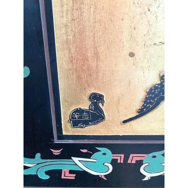 Six Panel Chinese Coromandel Gilt and Lacquer Screen For Sale In Tampa - Image 6 of 10