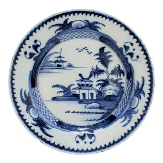 Antique Lambeth 18th Century English Delft Pottery Plate with Chinese Decoration For Sale