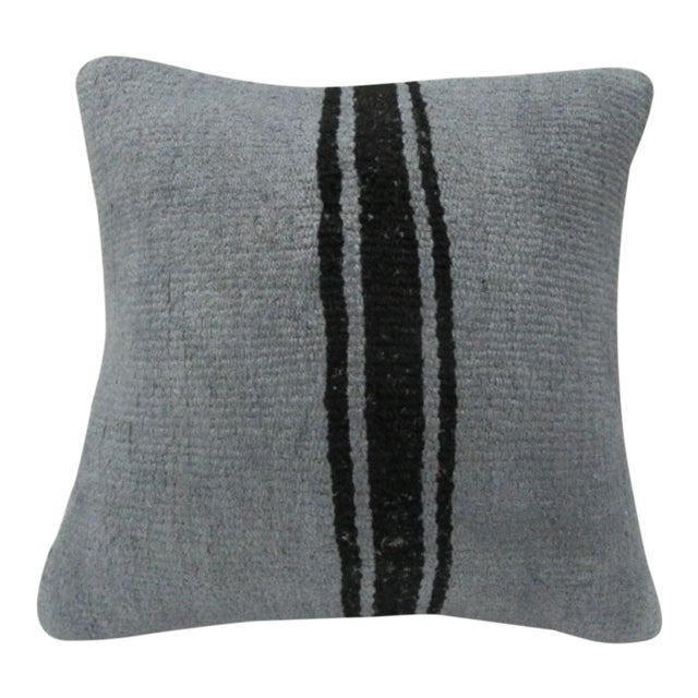 Handmade Vintage Striped Gray Turkish Kilim Pillow Cover For Sale