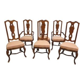 Drexel Heritage Old World Country French Carved Dining Arm Chairs - Set of 4 For Sale
