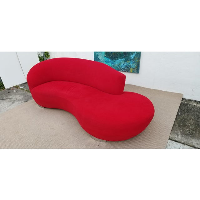 Vladimir Kagan Red Velvet Serpentine Sofa . For Sale - Image 9 of 13