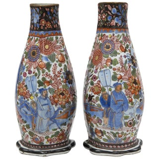 Pair of Chinese Clobbered Wall Pockets, circa 1780 For Sale