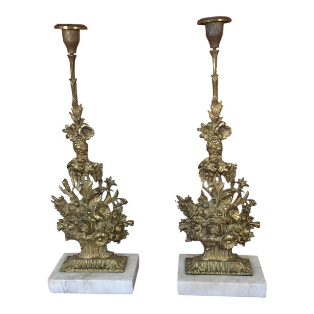 Antique Victorian Candle Holders - A Pair For Sale