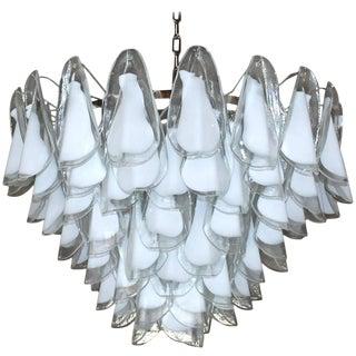 Italian Murano Milky White Rondine Glass Chandeliers by Vistosi For Sale