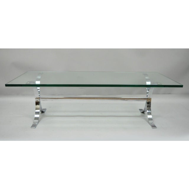 Mid-Century Modern Chrome Butterfly Base Glass Top Coffee Table Baughman Style For Sale - Image 9 of 12