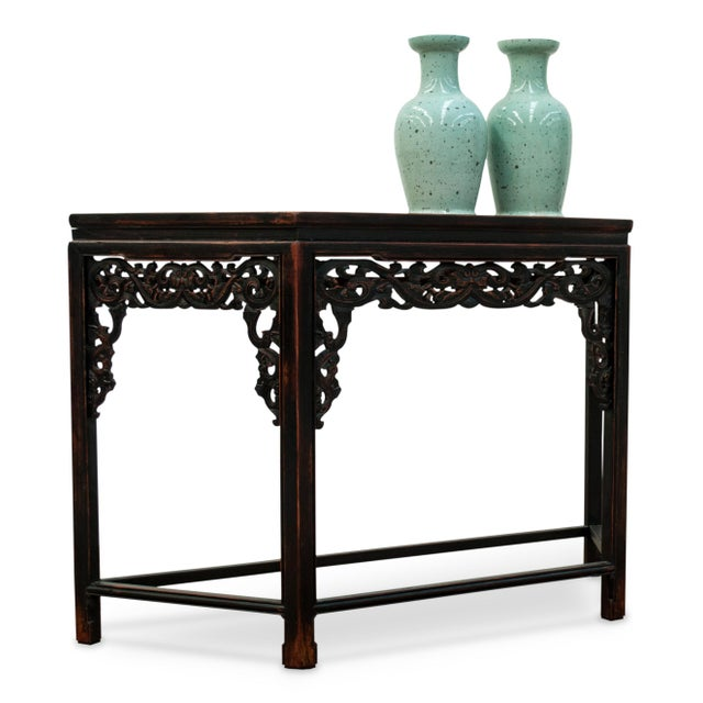 Sarreid LTD Asian Carved Wood Console Table - Image 4 of 5