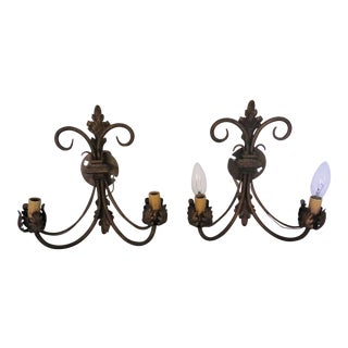 Hollywood Regency Iron Sconces - A Pair For Sale