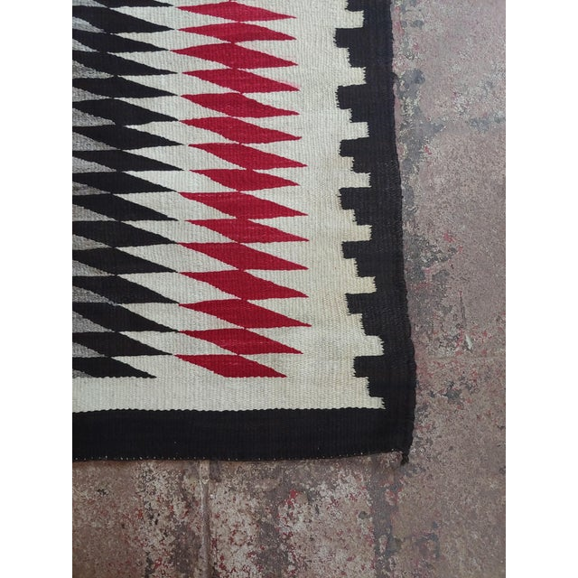 1930s Native American Vintage Navajo Rug W/Red Brown & Beige Design For Sale - Image 5 of 9