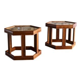 John Keal for Brown Saltman Hexagonal Side Tables - a Pair