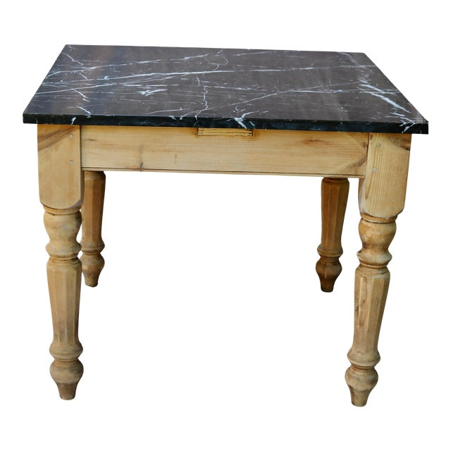 Late 20th Century French Farm Table With Black Marble Top For Sale