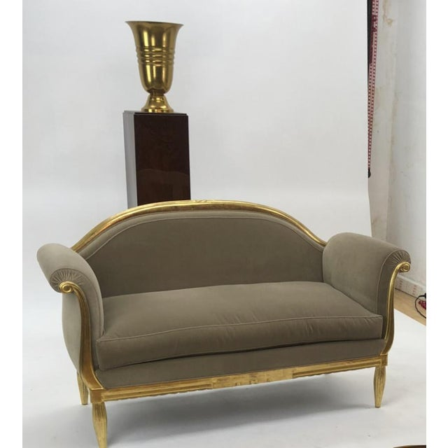 Awesome refined art deco carved gilt wood frame couch.