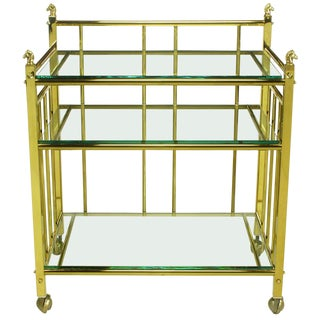 Three Tiered Brass & Glass Bar Cart With Horse Head Details For Sale