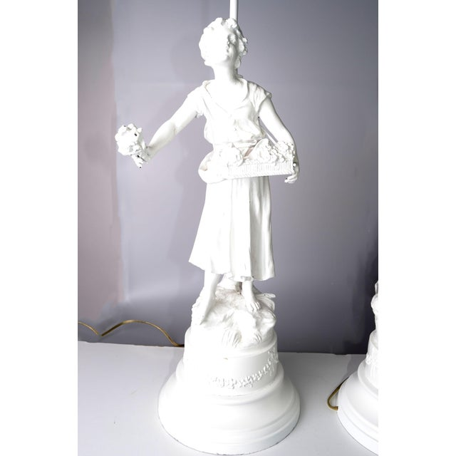 French Figurine Table Lamps - A Pair - Image 4 of 10