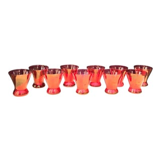 1950s Iridescent Pink Cocktail or Shot Glasses - Set of 10 For Sale