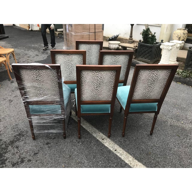 Custom Teal Velvet Dining Chairs - Set of 6 - Image 2 of 7