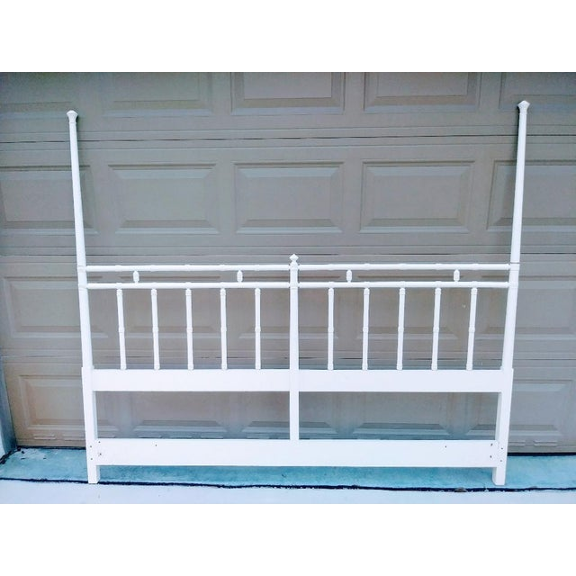 1980s Vintage Palm Beach Regency King Size Faux Bamboo White Headboard For Sale - Image 5 of 5