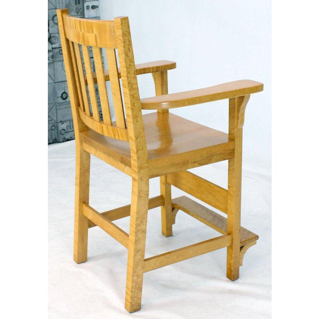 2000s Solid Brid's-Eye Maple High Pool Chairs Bar Stools For Sale - Image 5 of 13