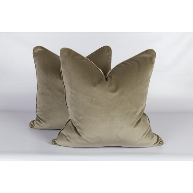 Custom Green & Ivory Velvet Tweed Pillows - a Pair - Image 4 of 5