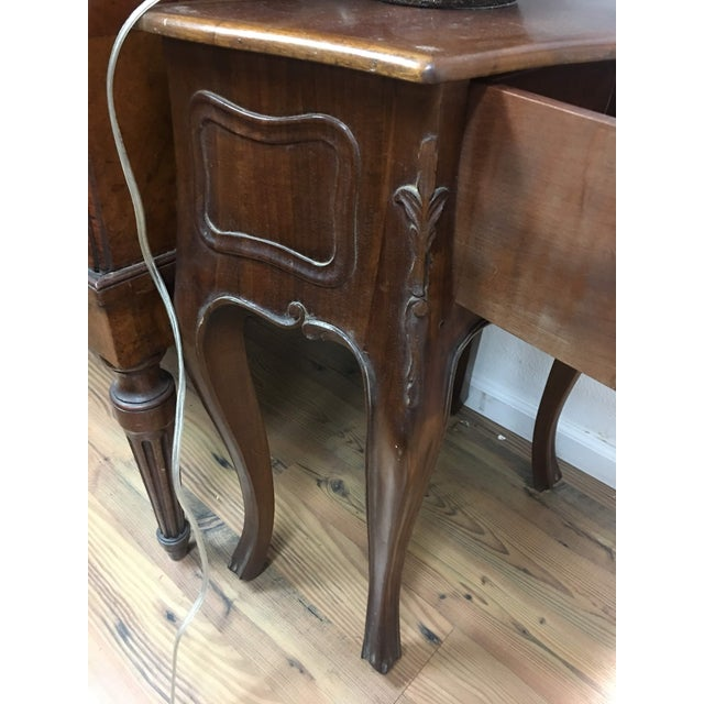 Cherry Wood Petite Louis XV Style Carved Cherrywood Bedside Tables - a Pair For Sale - Image 7 of 9