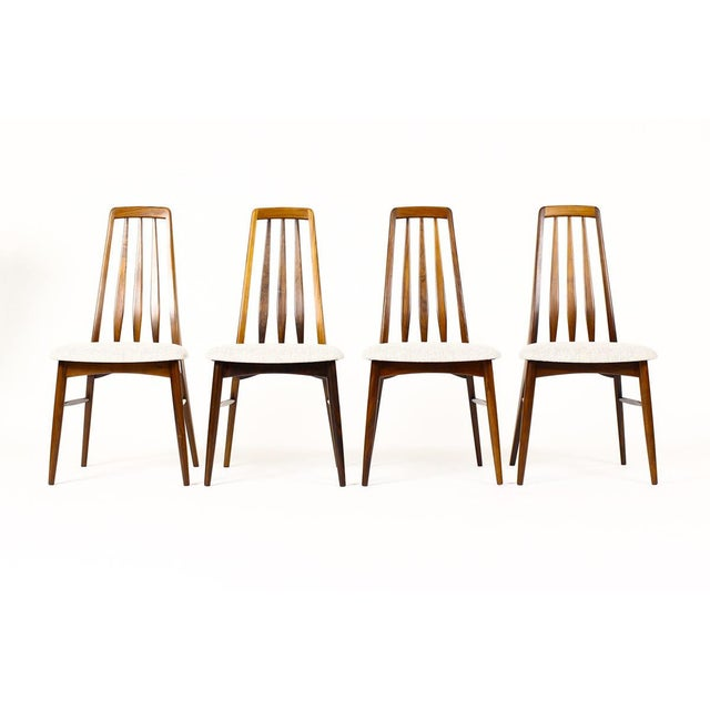 Fantastic specimen dining chairs. Eva chair designed by Niels Koefoed for Koefoed Hornslet. Rosewood frames with light...