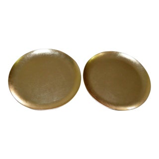 Japanese Gold Foil Lacquer Charger Plates Black - a Pair Set of Two (2) Vintage Antique For Sale