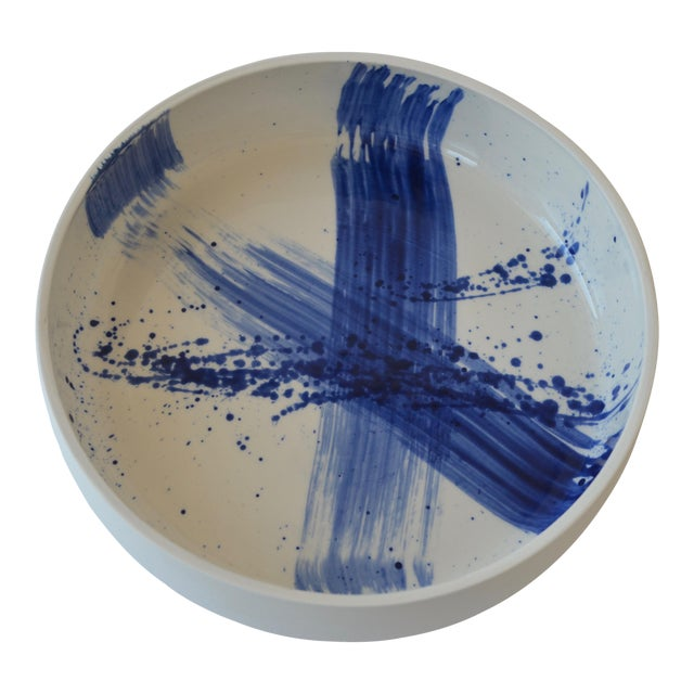 Contemporary Ceramic Utility Bowl With Cobalt Calligraphy For Sale