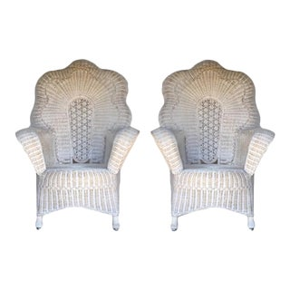 Vintage Wicker Arm Chairs - a Pair For Sale