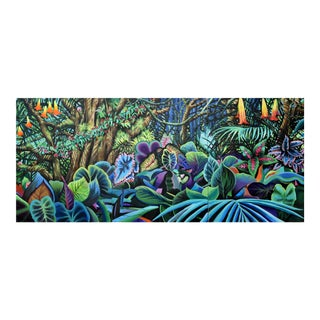 """Flowering Jungle"" -Large Geoff Greene Painting in 3 Sections (Ready for Display) For Sale"