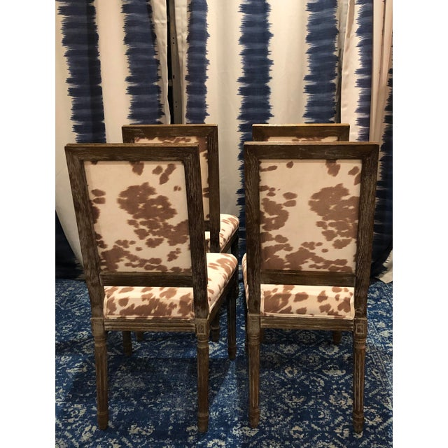 Boho Chic Faux Pony Hair Dining Chairs Louis XVI Style For Sale - Image 3 of 4