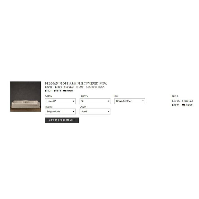 Restoration Hardware Restoration Hardware Belgian Slope Arm Slipcovered Sofa For Sale - Image 4 of 7